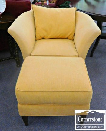 5960-585 Royal Pale Yellow Upholstered Chair with Ottoman
