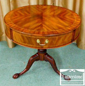 5960-654 Henkel Harris Inlaid Mahogany Drum Table