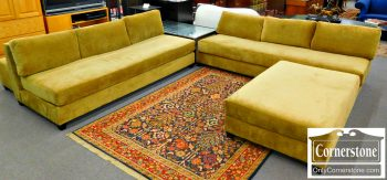 5960-672 2 Piece Olive Color Upholstered Sectional Sofa