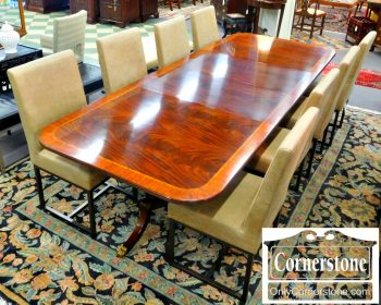 5960-694 Henkel Harris Mahogany Banded Table in Finish #29 with 2 Leaves (Model #2276)