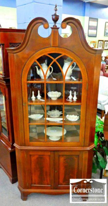 5960-715 Potthast Inlaid Mahogany Corner Cabinet