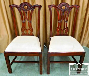 5960-721 Pair of Maitland Smith Mahogany Chippendale Dining Side Chairs