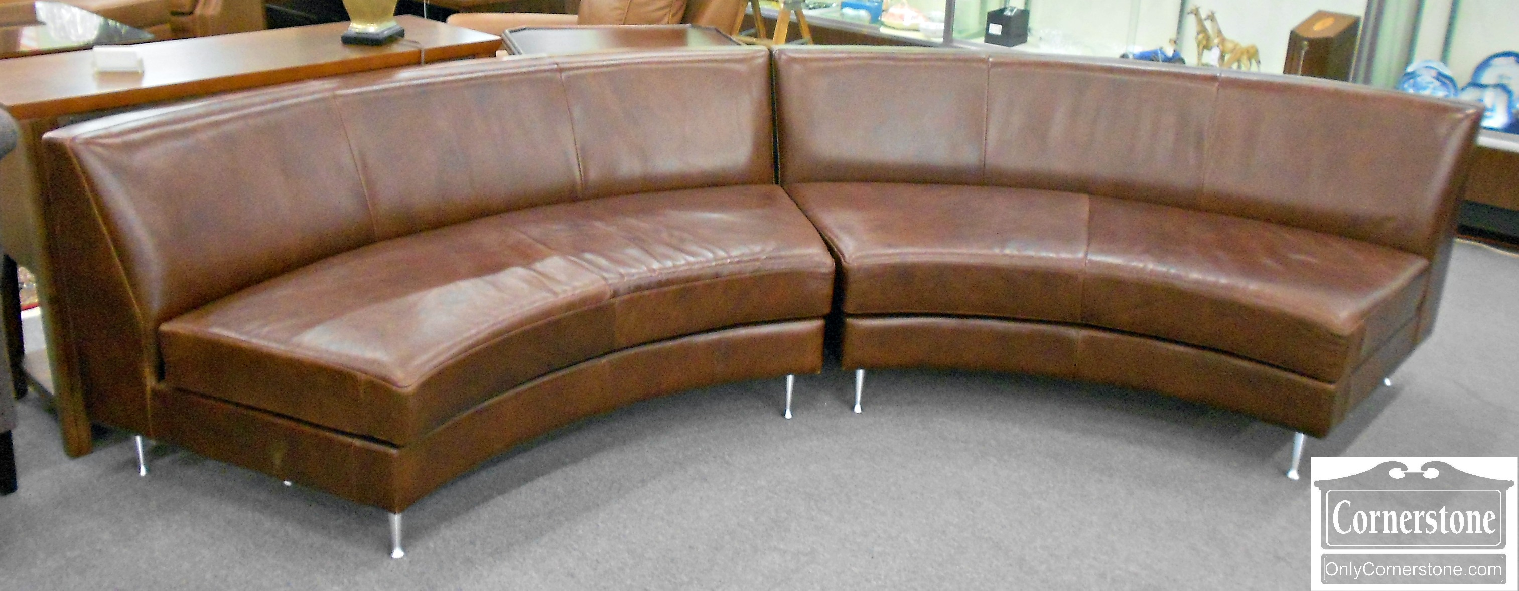 5960-83 American Leather Company 2 Piece Leather Sectional