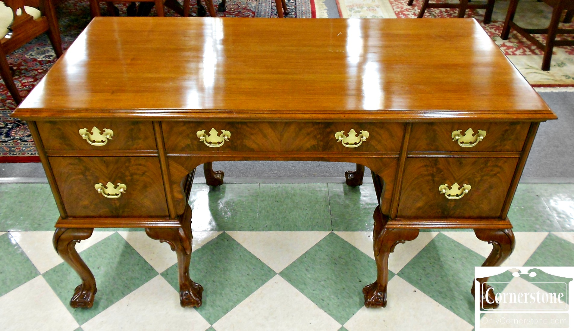 5961-1 Burled Walnut Chippendale Ball and Claw Foot Writing Desk