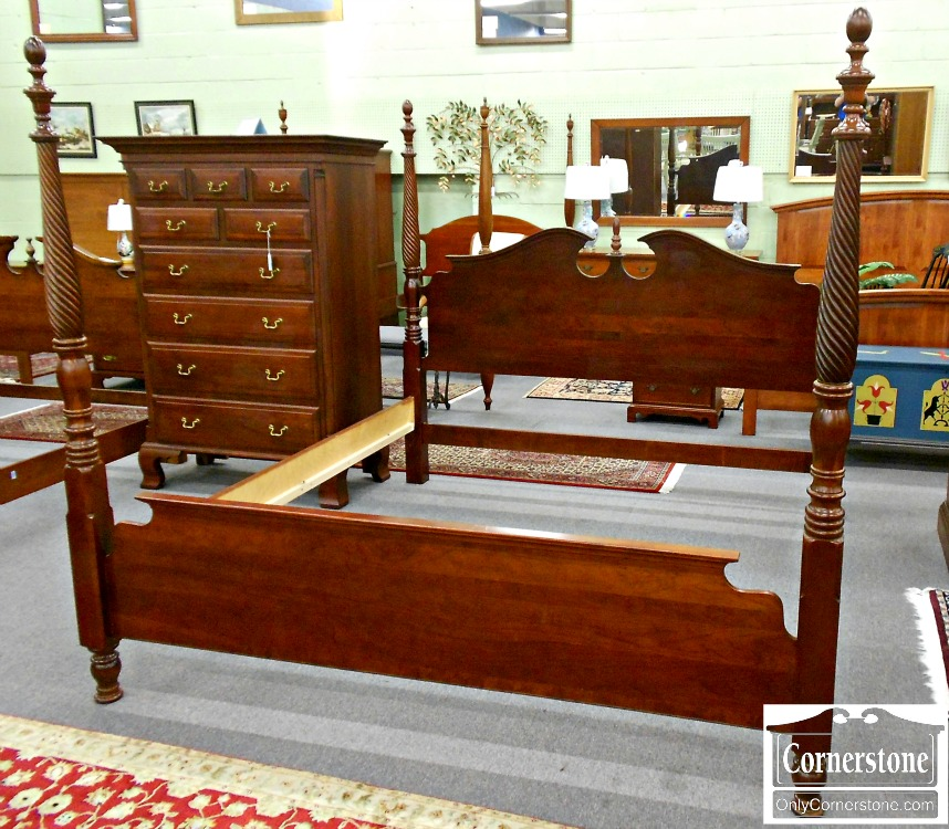 5965-108 Solid Cherry King Poster Bed