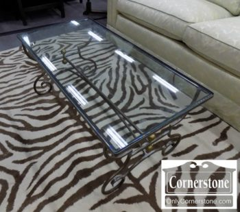 5965-1086 - Contemp Wrought Iron Rect Coffee Table Glass Top