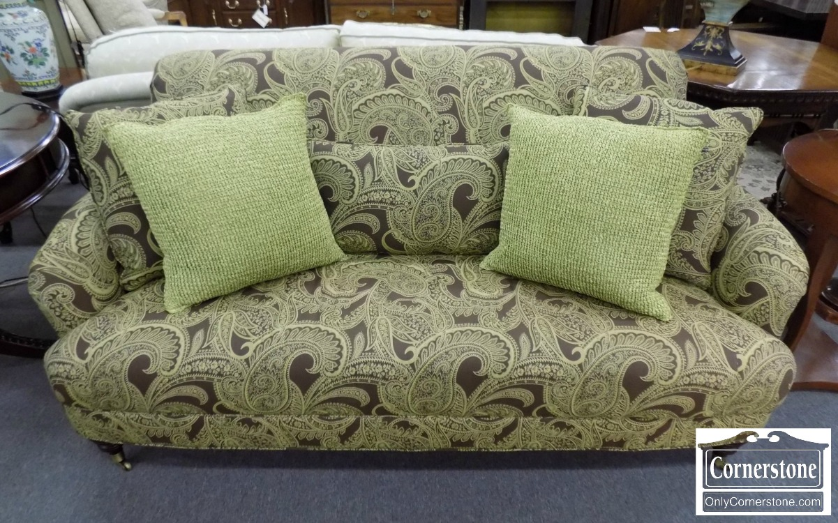 Olive Green Paisley Apartment Size Short Sofa With 8 Way Hand Tied