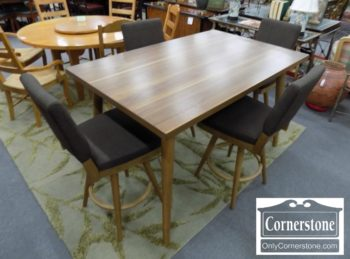 5965-1171 - Retro Mid Cent Mod Counter Height Table and 4 Chairs