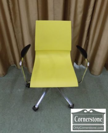 5965-1329 - Mid Century Modern Yellow Chrome Office Chair