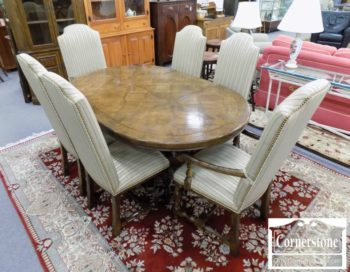 5965-1362 - Century Oak Rustic Round Table 6 Chairs