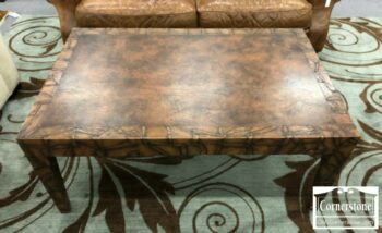5965-1401 - Leather Wrapped Rect Coffee Table
