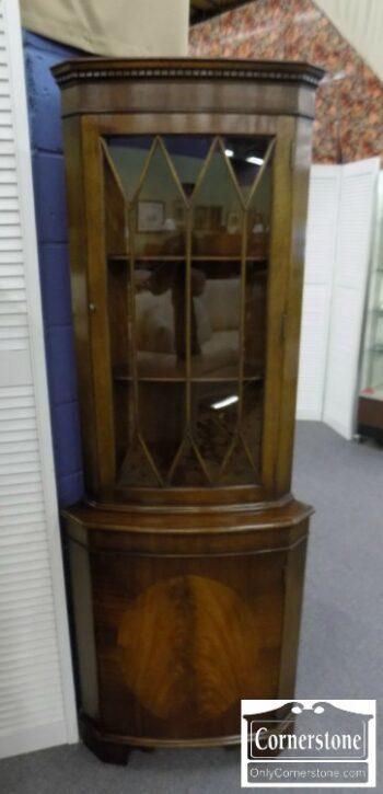 5965-1424 - Small English Mahogany Corner Cabinet