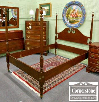 5965-143 Biggs Solid Mahogany Sheraton Style Full Size Poster Bed