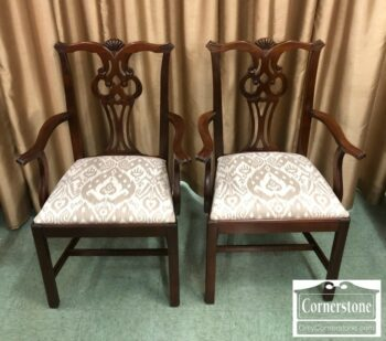 5965-1489 - Pair of Mah Chippendale Arm Chairs