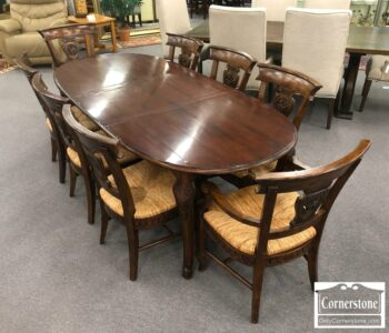5965-1530 - Hekman 9pc Rustic Oval Table 1 Lf 8 Chairs