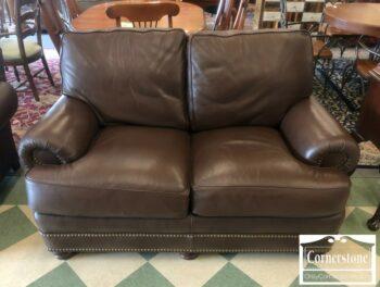 5965-1598 - Hancock & Moore Brown Leather Loveseat