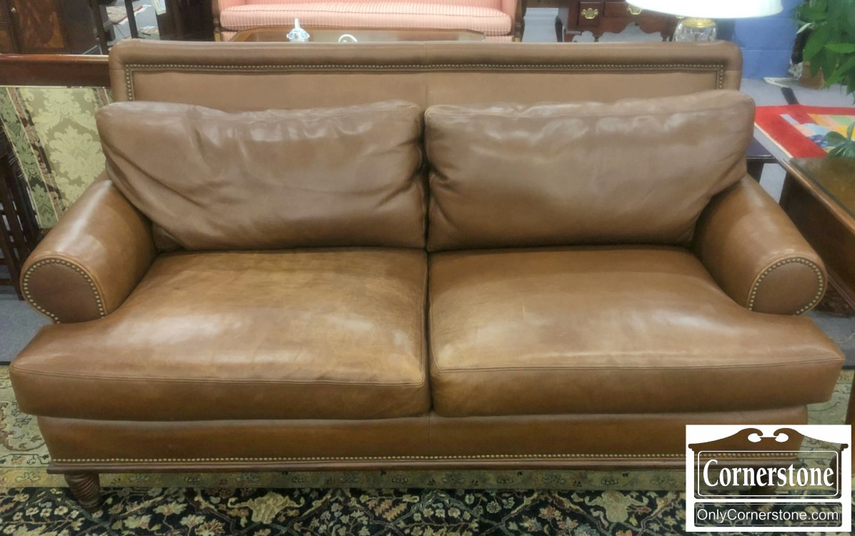 Kravet (Made in USA) Brown Leather Sofa | Baltimore ...
