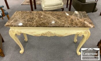 5965-1678-Hekman Marble Top Fr Style Console Sofa Table