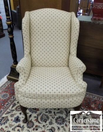 5965-1700-Wing Chair with Cream & Floral Fabric