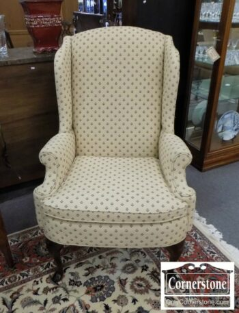 5965-1701-Wing Chair with Cream & Floral Fabric