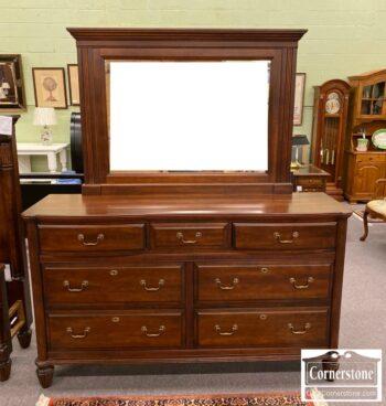 5965-1759- Durham Solid Maple Triple Dresser w Mirror