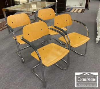 5965-1806 - Set of 4 Chrome and Wood Arm Chairs