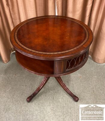 5965-1867-Vintage Mah Leather Top Drum Table