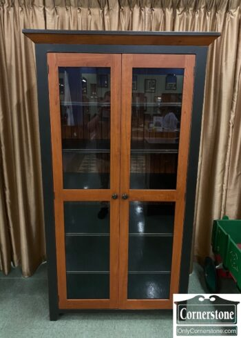 5965-1881 -Large Black and Cherry Bookcase Glass Doors