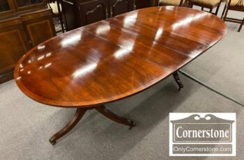 5965-1898-Oval Banded Mahogany Dining Table 2 Leaves