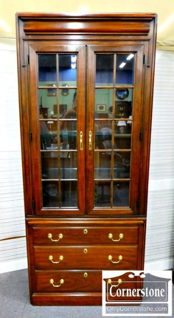 5965-195 Harden Solid Cherry Display Cabinet Bookcase