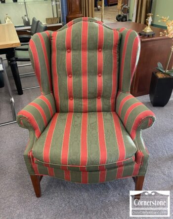 5965-1965 - Green and Red Striped Wing Chair