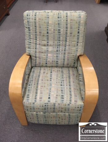 5965-1976-Modern Recliner w Wood Exp Arms
