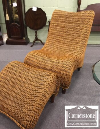 5965-1979 - Woven Wicker Chair w Ottoman