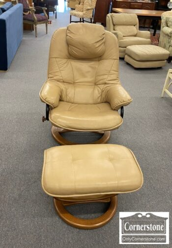 5965-2019 - Modern Stressless Style Tan Chair & Ottoman