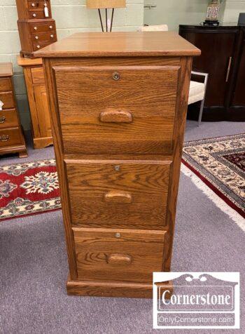 5965-2050 - Solid Oak 3 Drawer File Cabinet