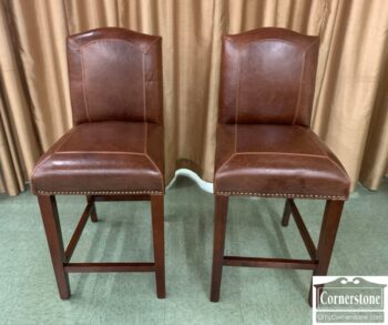 5965-2101 - Pair of Leather Counter Stools
