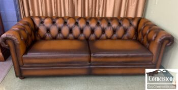 5965-2137 - PB Brown Leather Chesterfield Sofa