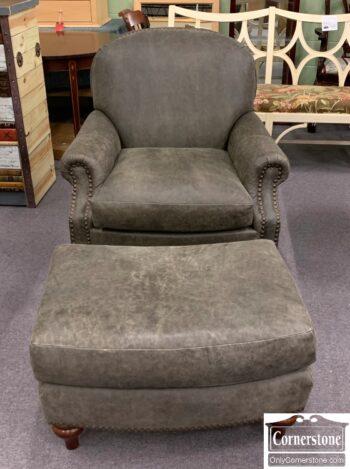 5965-2143 - Alexvale Gray Leather Club Chair Ottoman