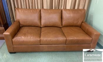 5965-2145 - PB Brown Leather Track Arm Sofa