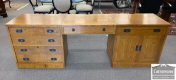 5965-2156 - Stickley 3pc Mission Desk w file drws