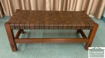 5965-2157 - Stickley Gus Woven Leather Bench