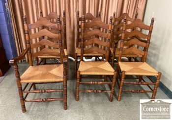 5965-2168 - Set of 6 Ladder Back Rush Seat Chrs
