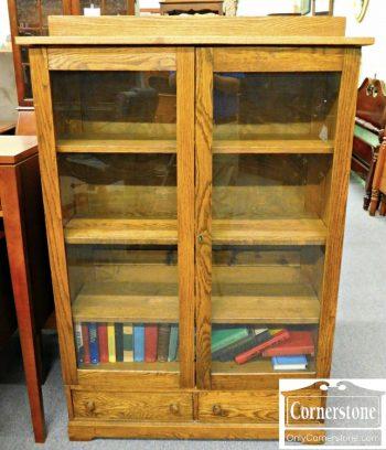 5965-219 Antique Solid Oak 2 Door Bookcase