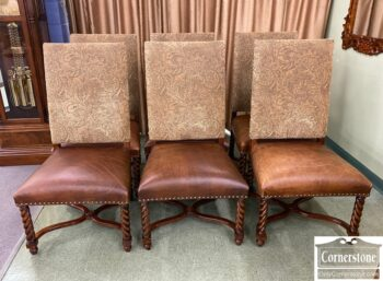 5965-2206 - 6 Barley Twist Chairs Leather Seats