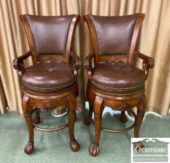 5965-2295 - Pair Swivel Bar Stools Leather