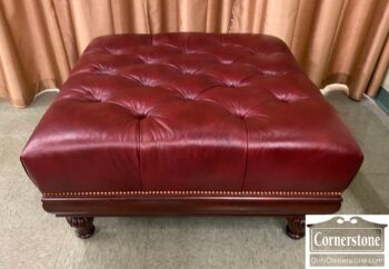 5965-2299 - HM Lg Sq Red Leather Ottoman