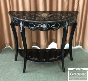 Black Demilune Table with Decoration