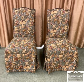 5965-2404 - Pr of Parsons Chairs Tapestry Fabric