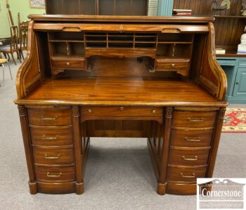 National Mt. Airy Cherry Roll Top Desk with Key and Locking Drawers