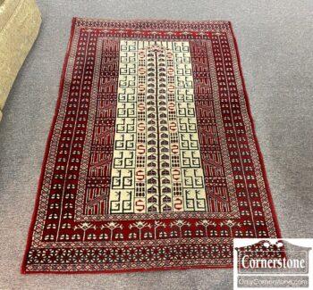 5965-2483 - Red Tan Geom Hand Knot Wool Rug